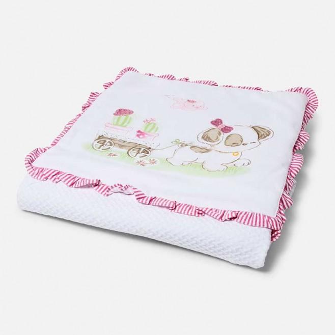 Κουβέρτα με κέντημα φιόγκο MAYORAL ,9388 ΡΟΖ